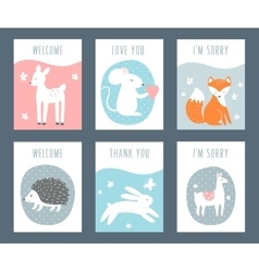 Forest animals sentimental notes and cards vector