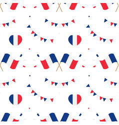 French flags and design elements pattern vector