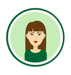 Girl face with long brown hair and brown eyes vector