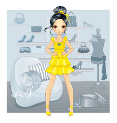 Girl in yellow dress does shopping vector