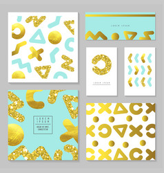 golden glitter card template set abstract gold vector image