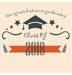 Graduation class two thousand eighteen paper vector
