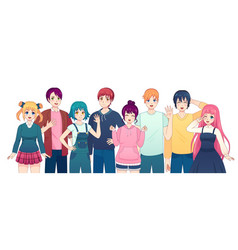 Group anime characters young manga girls vector