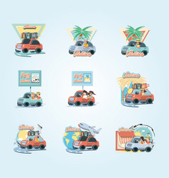 group of people in car vacations travel vector image