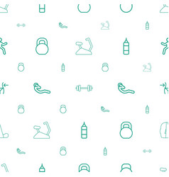 Gym icons pattern seamless white background vector