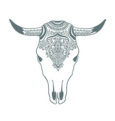Hand drawn cow skull with ornament Bohemian design vector image