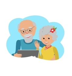 Happy senior couple with tablet vector image
