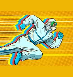 Hero doctor runs covid19 coronavirus epidemic vector