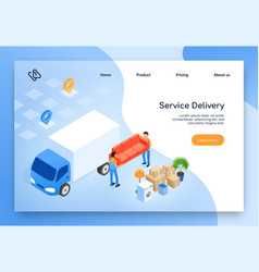 House moving company isometric website vector