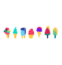 Ice cream set hand drawn icons signs and banners vector