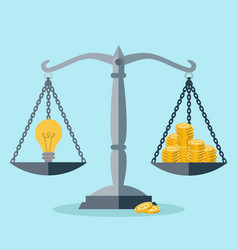 investment in an idea money balance concept vector image