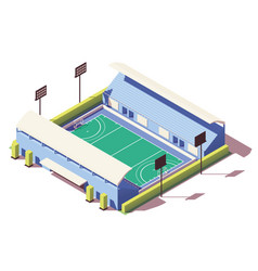 Isometric low poly field hockey stadium vector