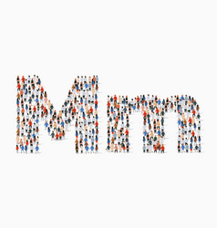 Large group people in letter m form vector