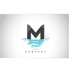 m letter logo design with water splash ripples vector image