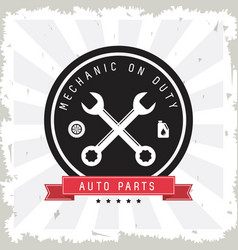machine and wrench icon auto part design vector image