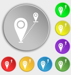 Map pointer icon sign symbols on eight flat vector