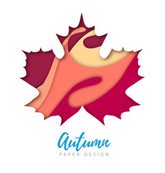 maple leaf silhouette cut out paper art style vector image
