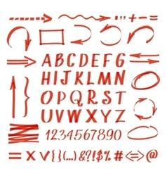 Marker hand written symbols pen line vector image
