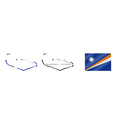 Marshall islands detailed flag map detailed vector