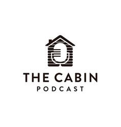 minimalist cabin podcast logo icon vector image