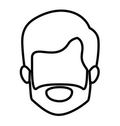 Monochrome contour of old man faceless with short vector