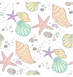 Multicolor seashells pattern vector