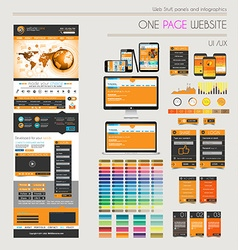 One page website flat UI UXdesign template vector image