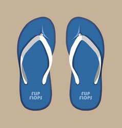 Pair blue summer flip flops rubber shoes vector