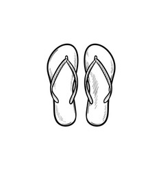 pair of flip flop slippers hand drawn outline vector image