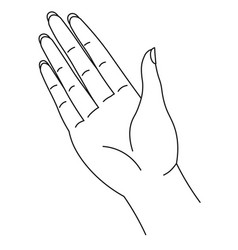 Palm drawn in line art style hand with fingers vector