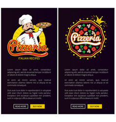 pizzeria italian recipe set vector image
