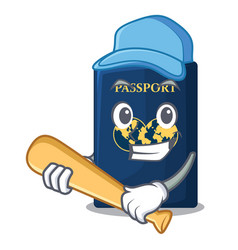 Playing baseball blue passport in the cartoon form vector
