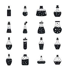 potion magic bottle icons set simple style vector image