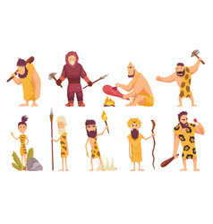 primitive people in stone age cartoon icons set vector image