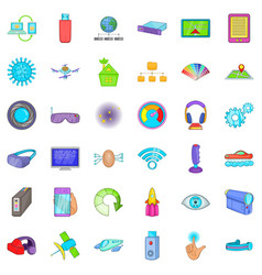 Radio technology icons set cartoon style vector
