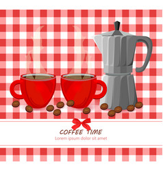Red coffee cups on gingham pattern vector