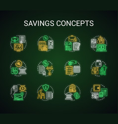 Savings neon light concept icons set different vector