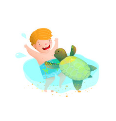 Sea turtle and boy having fun in ocean playing vector