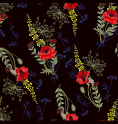 Seamless pattern with poppies and leaves vector
