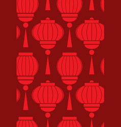 seamless pattern with simple chinese red lanterns vector image