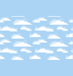 Seamless texture of white clouds with watercolor vector