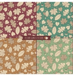 Set of autumn seamless patterns with foliage vector image