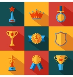 Set of flat awards icons vector