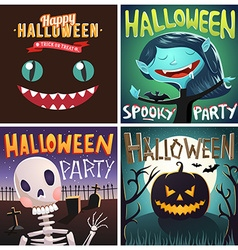 Set of Happy Halloween cartoon Party posters or vector