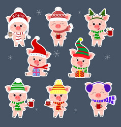 set of stickers eight pigs in different hats and a vector image