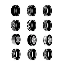 set of tire and wheels black vector image