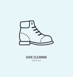 shoes repair line icon shoe shine logo leather vector image