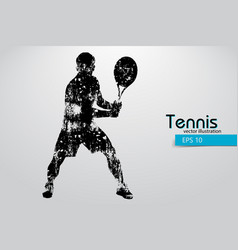 Silhouette of a tennis player vector