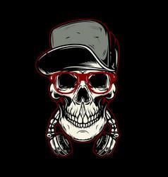 skull in headphones design element for poster vector image