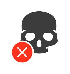 skull with cross checkmark colored icon bone vector image